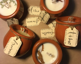 Organic soy wax candles in TERRACOTTA containers