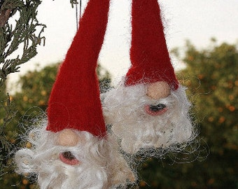 Needle Felted Gnome Christmas Tree Ornaments - Made to Order