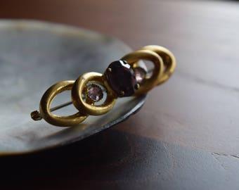 Antique Edwardian Gold Purple Faceted Amethyst Glass Bar Brooch