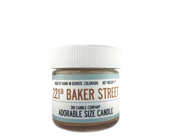 221b Baker Street Candle - Sherlock Adorable Size Candle - Book Candle - Dio Candle Company - Net Weight 1 Oz Burn Time 11-15 Hours