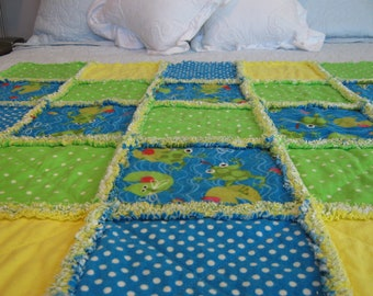 Frog Rag Quilt / Dragonfly Rag Quilt / Baby Rag Quilt / Child Rag Quilt / Yellow Green Blue Rag Quilt