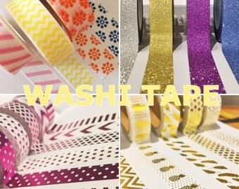 WASHI TAPE - Various patterns: metallic, bold, glitter
