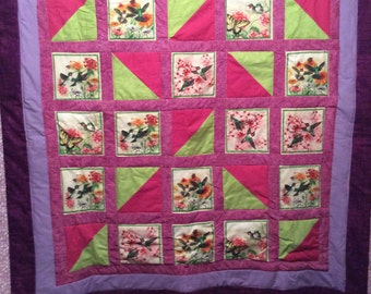 Butterfly Hummingbird flower chevron baby girl Rag quilt soft : hummingbird quilts - Adamdwight.com