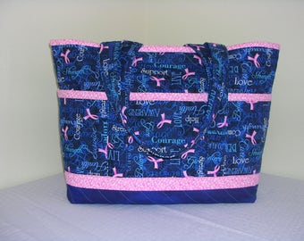 Navy Blue w/ Pink Ribbons, Breast Cancer Awareness, Quilted Tote, Lrg
