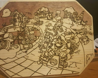 Mario Kart Themed Wood Plaque