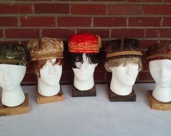 Victorian gentlemen's brocade smoking caps