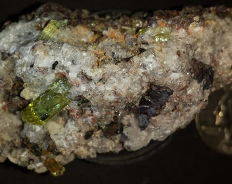 Very nice gemmy Apatite Crystals in Martite, Quartz, Chalcedony and Calcite Breccia.(Item # a00034) Free Shipping to U.S.A.