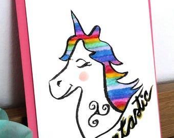 "Card mailing watercolor ""Unicorn fantastic"""