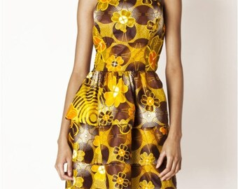Designer dress / sexy dress / 100% cotton / spring / handmade / Made in Paris / Orange