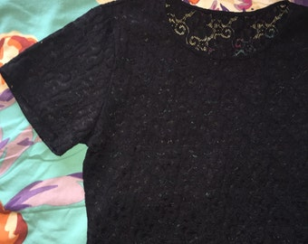 Black lace short sleeve