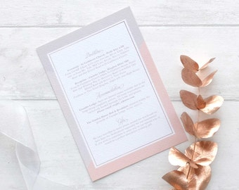 Pink and grey information card