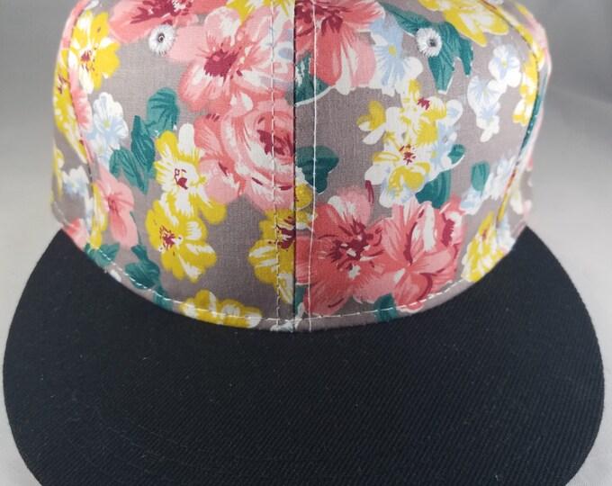 Pink Flower Snapback Hat