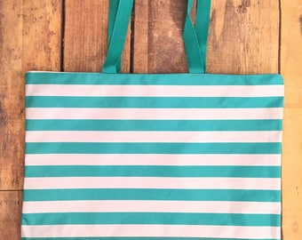 Zippered Tote Bag,Beach Bag,Sports Bag,Vacation Tote,Plain Tote Bag, Beach Tote,Vacation Luggage,Blue and white tote-Monogram beach tote bag
