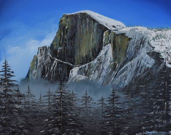 Original Oil Painting of Half Dome, Yosemite National Park by Raymond Warren