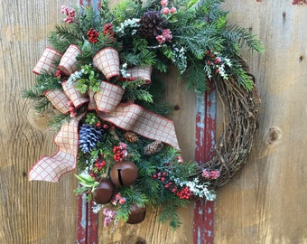 Christmas Door Wreath - Holiday Wreath - Country Wreath with Bells, Berries and Pinecones