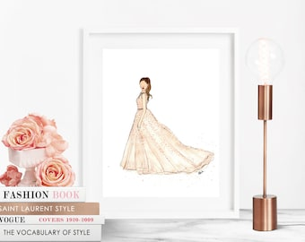 "Elie Saab Gown - 8""x10"" - Various Sizes - Wall Art - Gifts for Her - Ball Gown - Special Occasion - JLO - Princess - Bllush - Oscars"
