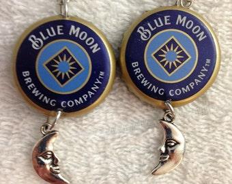 Blue Moon bottle cap earrings
