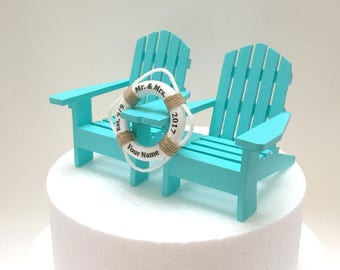 Nautical Wedding Cake Topper, Adirondack Wedding Cake Topper, Blue Wedding Cake, Beach Wedding Cake Decorations,Beach Wedding Cake,Life Buoy