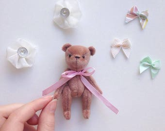 Miniature teddy bear, brown soft bear, mini small teddy, handmade, collectible, toy, doll toy