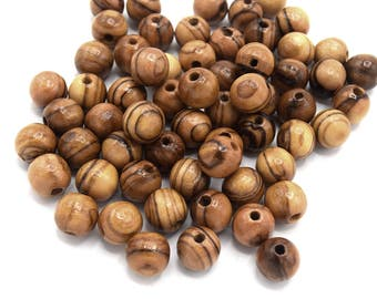 Olive wood natural handmade organic round 8 mm PB17 beads