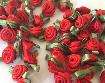 20, red ribbon roses, satin ribbon roses, red satin roses, sew on flowers, small ribbon roses, red ribbon flowers, flower appliques
