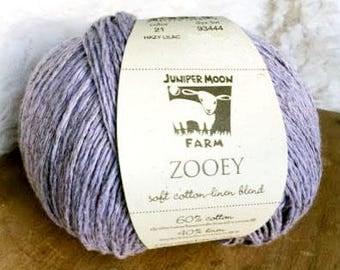 Zooey in Hazy Lilac - Cotton Linen DK yarn - Juniper Moon Farms