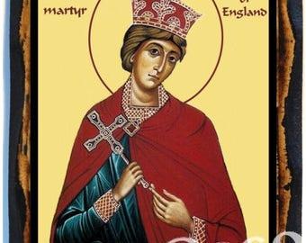 Saint Edward the Confessor Christian Catholic Icon on wood