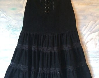 Vintage Black Corduroy Skirt Ruffle Hippie Gypsy Skirt with Lace Midi Skirt Small Size Bohemian Skirt