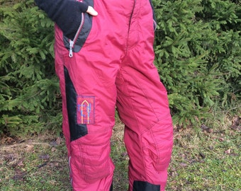 Vintage 90's Vine Red Ski Suit Pants Winter Hipster Snow Pants Dark Red Windbreaker Pants Large to Extra Large Size Skiing Overalls Pants
