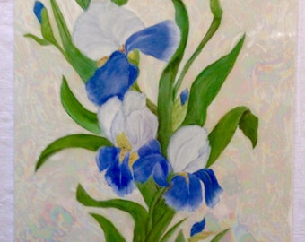 Blue and white Iris tile