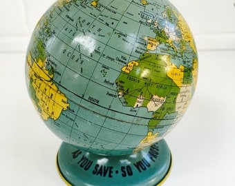 World Globe Tin Bank, American Vintage From The 1940's