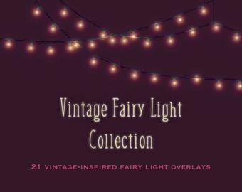 Vintage fairy lights clipart, vintage fairy lights overlays, light bulb clipart, light strings clipart, vintage, retro, blue, pink, yellow