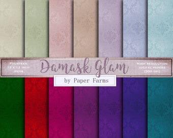 Damask digital paper, damask scrapbook paper, damask glam, printable, digital paper, scrapbook paper, backgrounds, wallpaper, damask