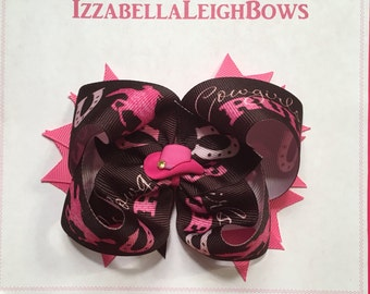 Brown amd Hot Pink Cowboy Boutique Bow
