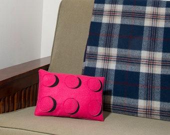 Decorative Felt & Fleece Fuchsia Rectangle Lego Pillow