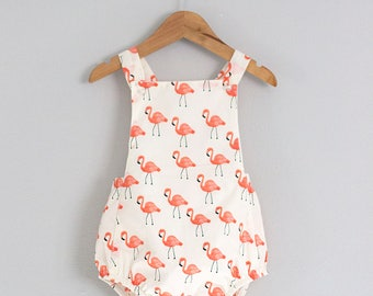 Flamingo Vintage Summer Romper// 18-24 Months Ready to ship// Free Shipping