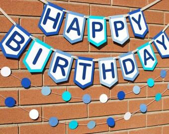 Happy Birthday Banner - Custom Birthday Banner - Personalized Birthday Banner- Birthday Sign - Blue Birthday Banner - Boy's Birthday Banner