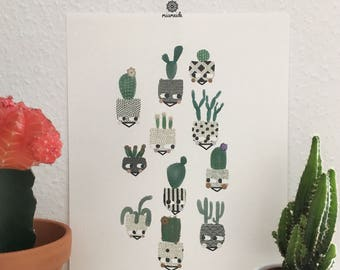 Cactus Cactus Urbanjungle image planting mural home mural graphic illustration gift birth minimalist abstract