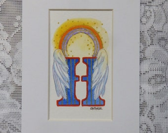 Angel Halo, Alphabet Art, Heavenly Halo, Letter Art, Halo with Wings, Angel Wings, Illuminated Letter, rainbow art