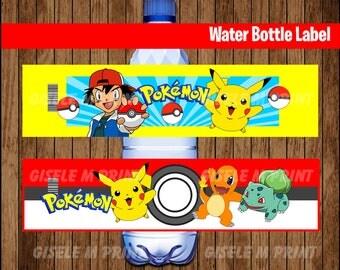 Pokemon Water Bottle Label, Printable Pokemon Water labels, Pokemon party Water instant download