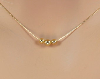 Ball Necklace,Tiny Ball Necklace, Gold Ball Necklace,Small Ball Necklace,Simple Necklace,layering Necklace,3 Gold Ball Necklace,Dainty .