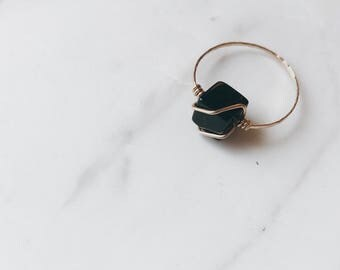 Minimal Black Agate Cube Ring