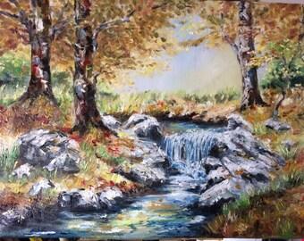 "Landscape, nature, River forest ""handmade painting-oil on Canvas, Nature theme"" Original landscape"