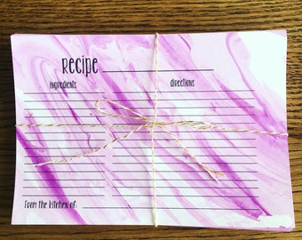 Marbled Recipe Cards, 4x6 Recipe Cards, Pack of Recipe Cards, Cards for Recipes