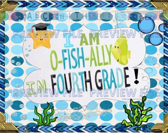 Ofishally in Fourth Grade-End of School Year Printable Sign-Kids' Graduation Gift-Last Day of Third Grade Announcement-Photo Prop Sign-Grad