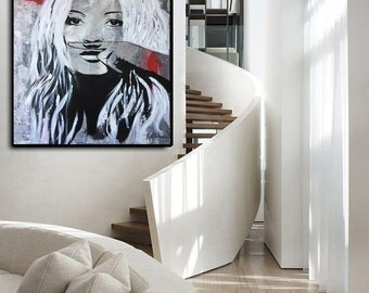Kate MOSS Abstract Painting Large Wall Art Portrait Painting ORIGINAL Abstract Palette Knife Painting Hand Painted Acrylic Painting
