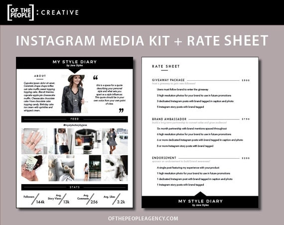 Page Media Kit Rate Sheet Template For Instagram