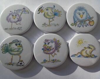 """Fridge magnets """"strange birds"""""""