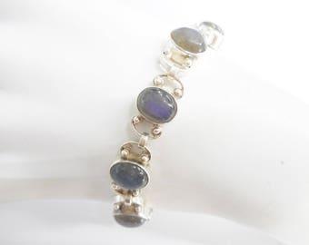 """Moonstone Bracelet, Vintage Bracelet, Link Bracelet, Sterling Bracelet, Sterling Silver Oval Cabochon Moonstone Link Bracelet 7.25"""" #3043"""
