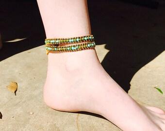 Green & gold wrap around bracelet or ankle bracelet